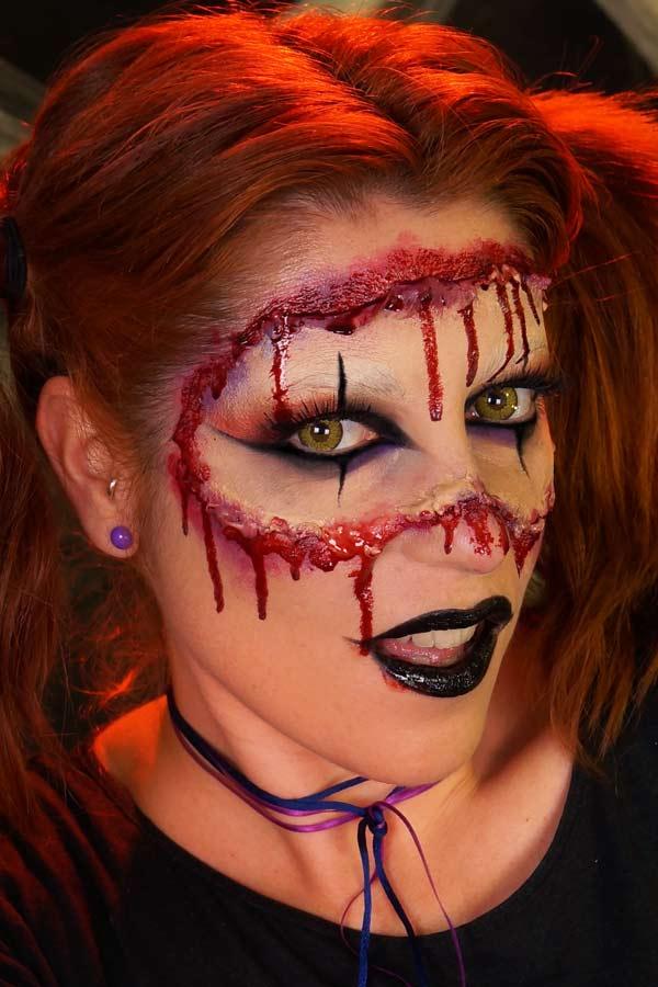 Un maquillage gore et féminin pour Halloween par Alicia Ré maquilleuse professionnelle